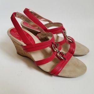 Anne Klein Red Wedge Sandals
